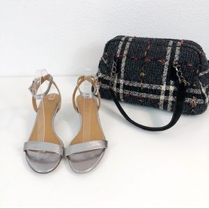 Tory Burch Silver Elana Ankle Strap Heels Size 9.5